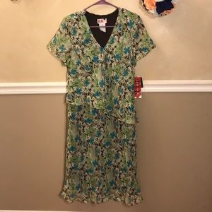 NWT R&K Originals sheer overlay floral dress